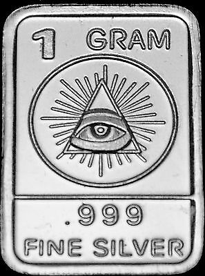 "Best Junk Drawer 1 Gram .999 Solid Silver Art-Bar: "" Illuminati All Seeing Eye """