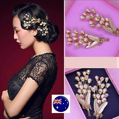 Women gold color Pearl Wedding Bride Party Race Hair Pin Headpiece Brooch PROP