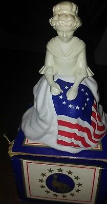 Avon Vintage 1976 Betsy Ross Figurine Decanter With Box (No Product)