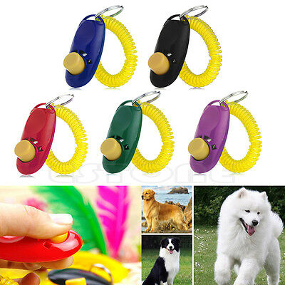 Training Pet Dog Puppy Trainer Teaching Aid Obedience Click Clicker&Wrist Strap