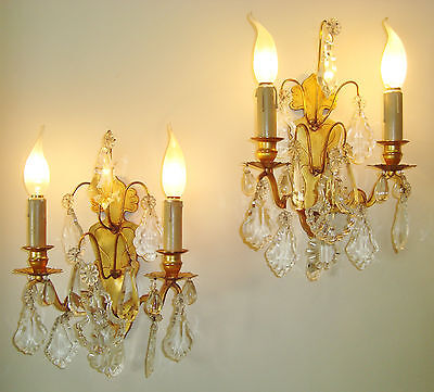 Lovely Pair Crystal Droplet Sconces Wall Lights Bronze French Chateau