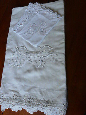 "ANTIQUE FRENCH Pure Linen Sheet Embroidery scalloped & Mono ""PD"" w/ pilow"