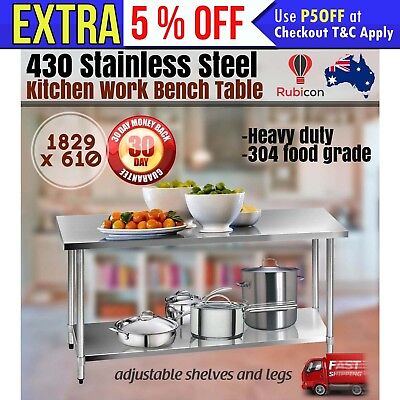 1829x610mm Commercial 430 Stainless Steel Kitchen Work Bench Food Prep Table Top