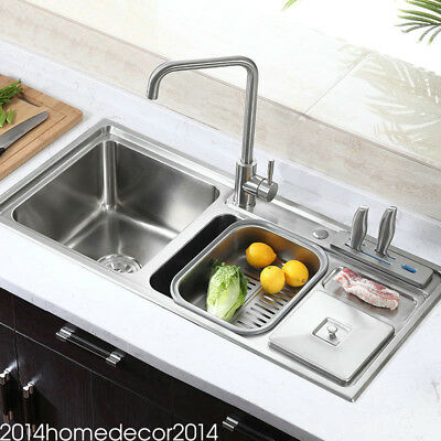 Modern Simple 304 Stainless Steel Sink Multifunctional 3 Bowls Kitchen Sink