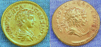 MUSEUM QUALITY REPRODUCTION of X RARE 24K GOLD ROMAN 3 HEAD AUREUS COIN OF GETA
