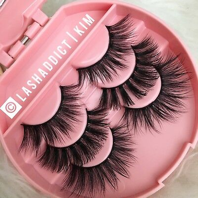 Glam MINK Lashes 3D Eyelashes 3 Pair / Silk Lashes Make Up Fur US SELLER