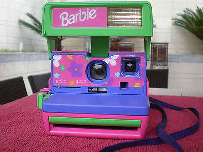Vintage Very Rare Polaroid 600 film Barbie camera  Multi color Excellent.