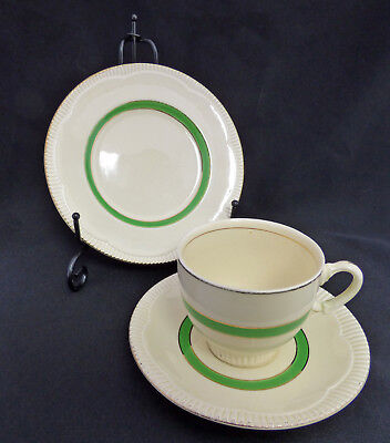 Vintage Clarice Cliff Trio in Cream and Green