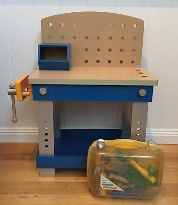 Wooden Play Workbench With Vice & AssortedTools