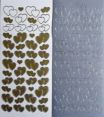 Double Love Hearts PEEL OFF STICKERS Outline & Solid Wedding Engagement