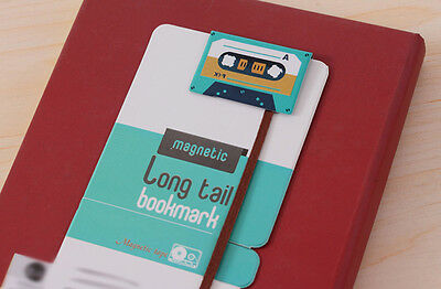 Retro Turquoise Cassette Tape Long Tail Ribbon Magnetic Bookmarks Gift