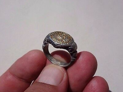 ancient massive Byzantine ~ Middle Ages ~ carved silver-gilt ring