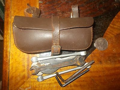 old Leather Bicycle tool pouch, metal buckles, c1960-70, some tools,VGC