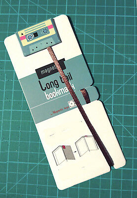 Retro Teal Cassette Tape Long Tail Ribbon Magnetic Bookmarks Gift