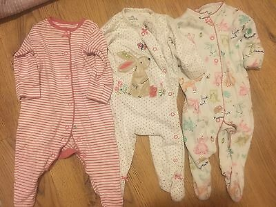 Baby Girl Bunny Sleepsuits Up To 3 Month