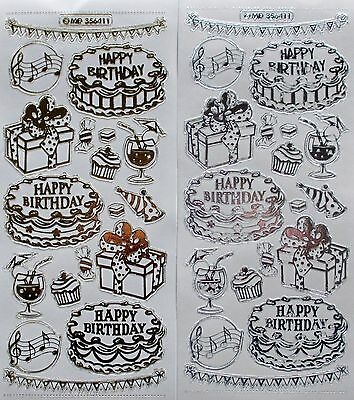 Double Embossed on Clear Happy Birthday Cake PEEL OFF STICKERS Presents Cakes