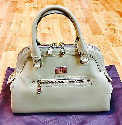 Authentic Braun Buffel Germany Leather Tote Bag Silver & Light Gold Hardware