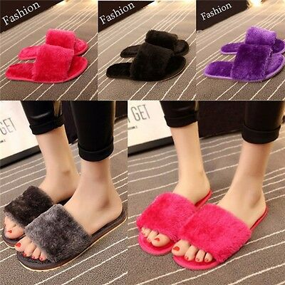 New Women House Home Flats Anti-slip Fluffy Indoors Soft Slipper Open Toe Shoes