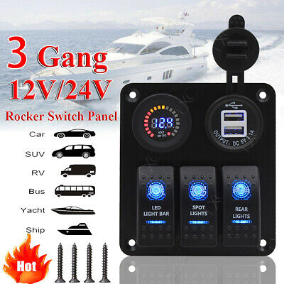 Switch Panel, 3 Gang Waterproof Rocker Switches Panel for Marine Boat Car RV