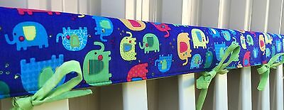 Reversible Cot Teething Rail Covers - Bright multicoloured elephants