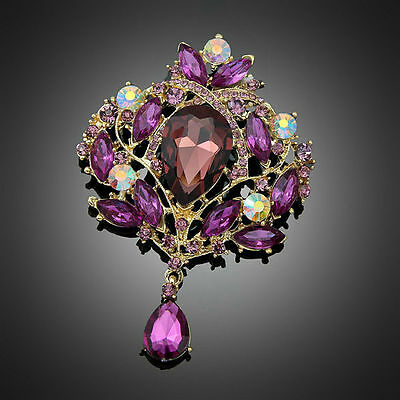 Glamorous Large Gold Burgundy Purple Crystal Vintage Inspired Statement Brooch