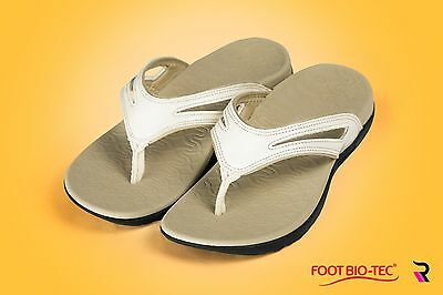 ' Spring' Series White Foot Bio-Tec Orthotic Thongs Shoes Pain Relief Women OZ