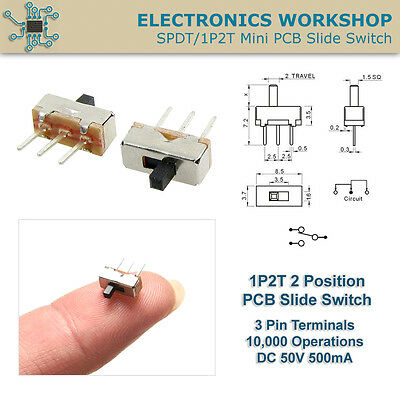 SPDT 1P2T Mini PCB Vertical Mount Slide Switch 3 Pins Pack 2, 5, 10 Pcs