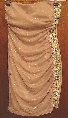 Women's Size 3 Sparkly SHORT STRAPLESS EVENING GOWN by teezeMe sequins beads