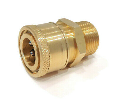 """Quick Connect Brass Coupler, 22mm x 3/8"""" for 14mm Plug, 4000 PSI Pressure Washer"""