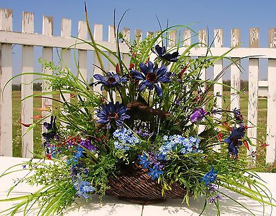 Outdoor Woods Silk Arrangement Mans Den Office Decor Blue Daisies Country Cabin