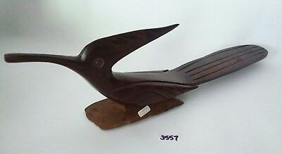 "LONG!! 19"" Vintage Mexico Ironwood Hand Carved Roadrunner EUC"