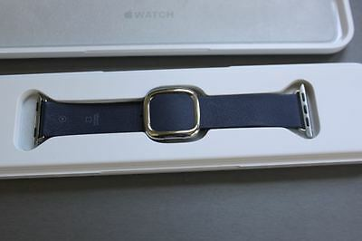 Apple Watch Band Modern Buckle Navy Blue Leather 38mm with Box OEM M Medium