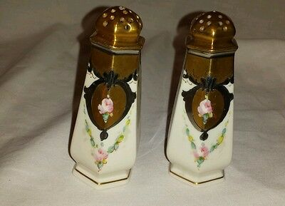 Lenox Belleek Floral Gold China Porcelain Salt And Pepper Shakers 3 3/4""