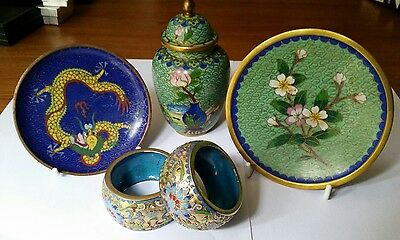 collection of vintage chinese cloisonne ware small plates jar napkin rings