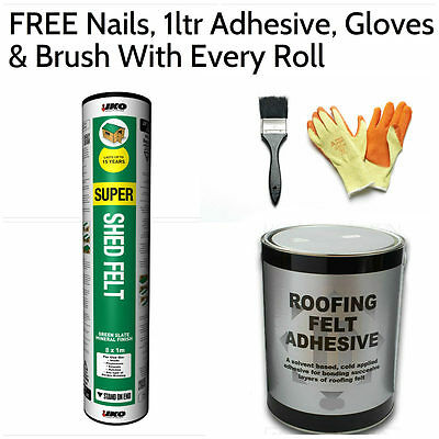 Super Shed Felt | Roofing Felt 8m (FREE Nails, 1ltr Adhesive, Gloves & Brush)