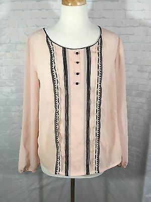 Candie's Pink Black Lace Long Sleeve Blouse Top Flowy Women's XL