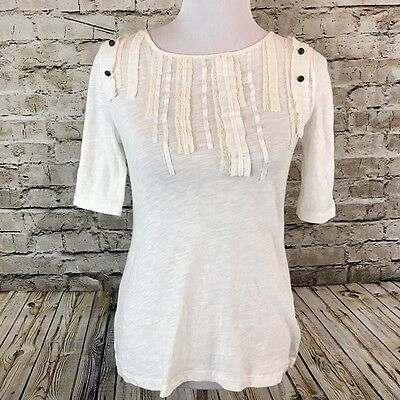 Anthropologie Deletta 3/4 sleeve Blouse T Shirt Top Cream Women's Size XS