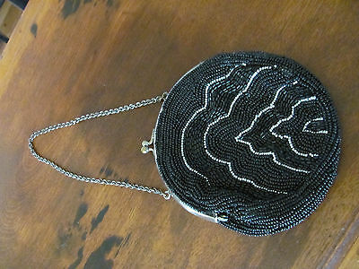 Old Victorian  Black Beaded Purse with Clasp