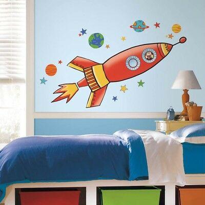 Rocket Wall Stickers Boys Girls Room Decor Space Theme Decal Giant Size