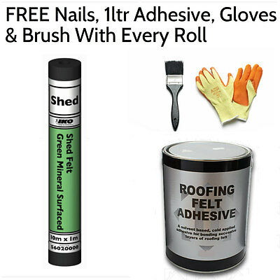 Green Shed Felt | Roofing Felt 10m (FREE Nails, 1ltr Adhesive, Gloves & Brush)