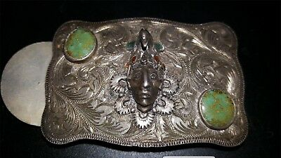 Fleming Sterling Co. Vintage Silver, Turquoise, Coral Inlaid. Belt Buckle.