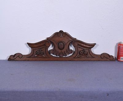 "28"" French Antique Solid Oak Wood Crest/Pediment/Crown"