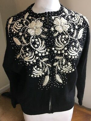 VTG MID CENTURY HAND LOOMED BEADED & PEARLS Lined Rockabilly Pinup Sweater A209