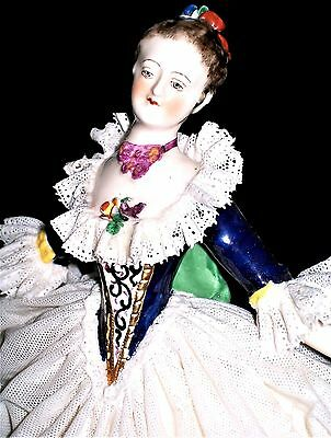 Antique German Dresden Lace Large Beautiful Lady Queen Dancer Porcelain Figurine