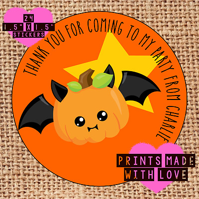 Personalised Halloween party bag stickers 24 trick or treat ghost pirate