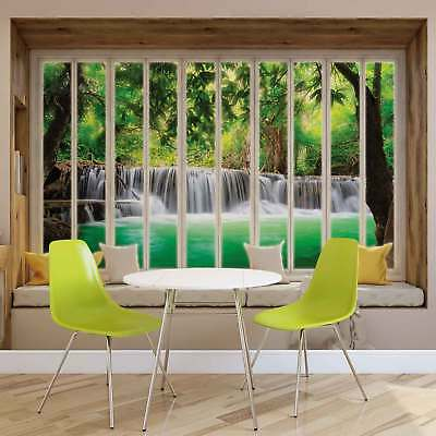 WALL MURAL PHOTO WALLPAPER XXL Window View Waterfall Forest (10655WS)