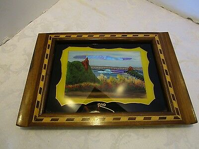 "Vintage Inlaid Wood Glass Reverse Painted Tray Butterfly Wing Souvenir Rio 12"" W"