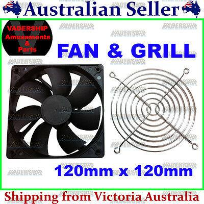 New: 12v COOLING FAN & Grill cover (12cmx12cm) for Arcade / Mame or Projects