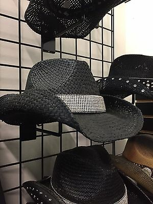 NWT Peter Grimm Drifter Black Braddock  Straw Cowboy Hat With Rhinestone Band