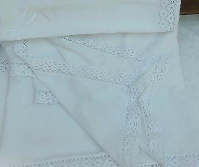 Large Very Fine Cotton Tablecloth Lace Trim White Embroidered Bed Cover Drape